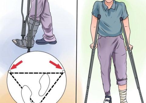 На рисунке указан принцип передвижения на костылях