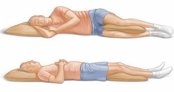 Сон на спине и на здоровом боку