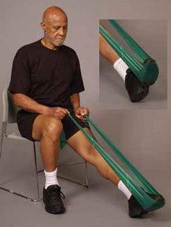 Выполнение упражнений с помощью эластической ленты в позднем реабилитациионном периоде