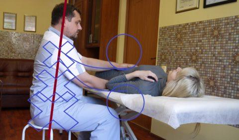Пример положения остеопата во время сеанса