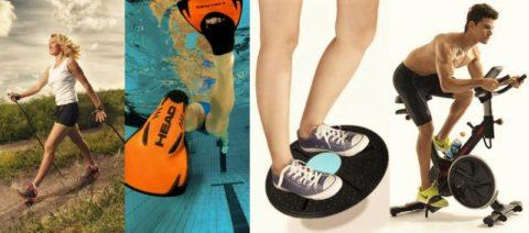 Скандинавская ходьба, плавание, Balance Board и велосипедные тренажёры