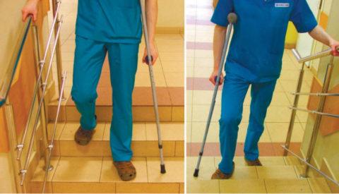 Использование костыля при ходьбе