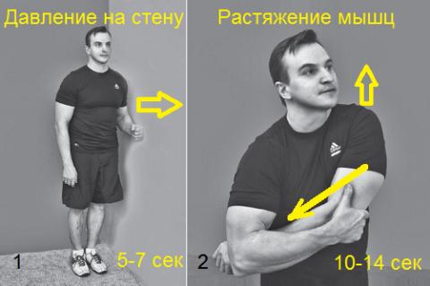 Пример изометрии для плеча, который следует повторить min 3 раза
