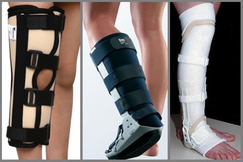 Фото ортезов для колена и голеностопа, повязки для диафизарных сломов большой и/или малой берцовых костей