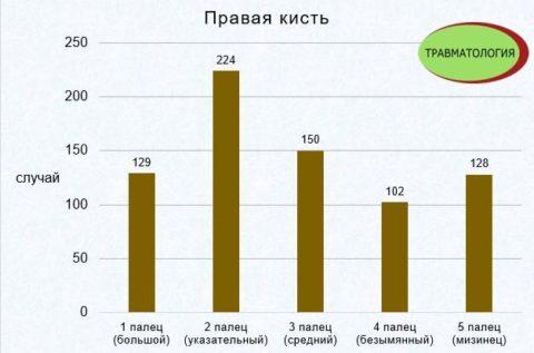 Статистика повреждения пальцев (данные за 2 года)