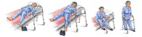 С кровати встают поэтапно