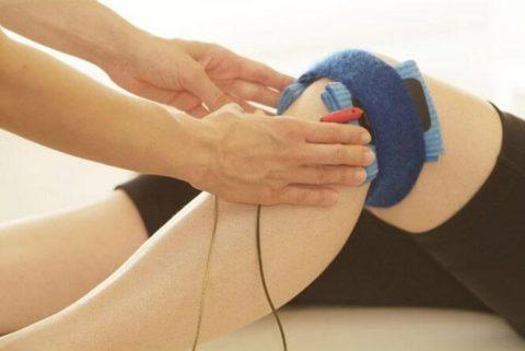 Один из способов наложения электродов при электрофорезе после перелома колена
