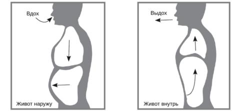 Основной момент техники брюшного (диафрагмального) дыхания