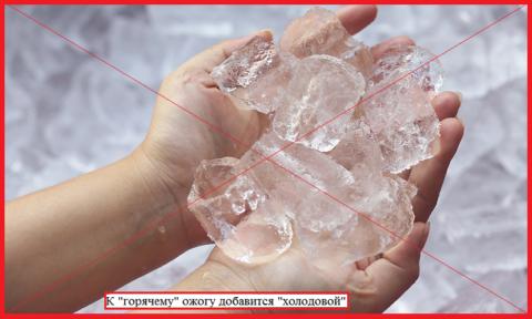 Прикладывать лед к обожженному участку противопоказано