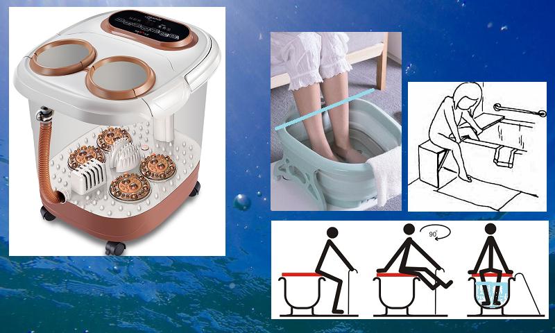 Уровень воды в физиотерапевтических ванночках для голеностопных суставов