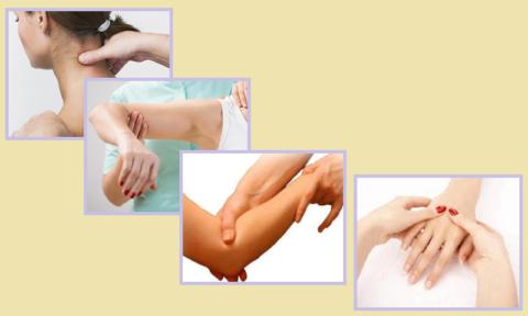 Если рука после перелома лучевой отекает, массируются шея → плечо → локоть → пальцы