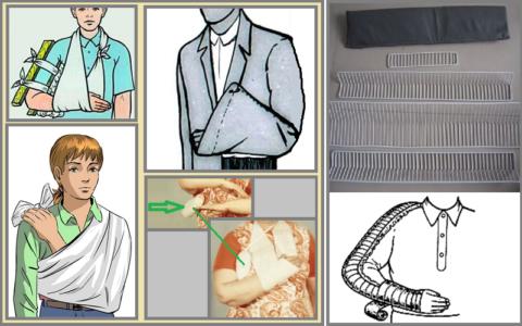 Некоторые из разновидностей транспортной иммобилизации при переломе плеча