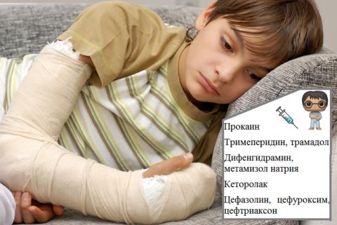Обезболивающее при переломе руки ребенку колется с учетом его массы тела