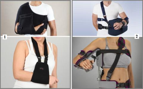Основной вид фиксирующих повязок при переломе плеча — это готовые бандажи Дезо (1) и отводящие шины (2)